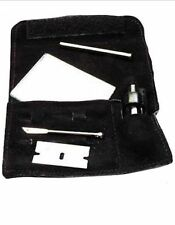 SNUFF SNORTING KIT SILVER SUEDE LEATHER POUCH UK SELLER