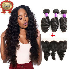 10A Brazilian Loose Wave Bundles With Lace Frontal Closure Human Hair Extensions