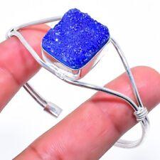 Blue Titanium Druzy Gemstone Silver Fashion Jewelry Cuff Bracelet Adst. SC-353