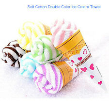 Portable Double Color Cute Soft Cotton Travel Washing Towel Ice Cream Shape Gift