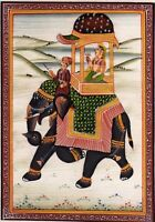 Handmade Indian Miniature Painting Of Mughal Queen Riding On Elephant Decor Art