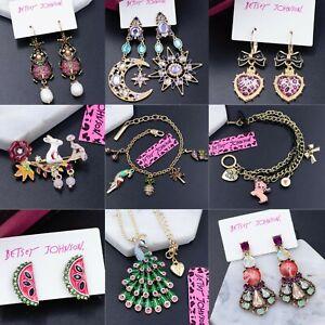 New Betsey Johnson Alloy Crystal Rhinestone Enamel Drop Earrings Fashion Jewelry