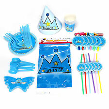New Prince Crown Children's Birthday Party Complete Tableware Kit Set Pack For 6