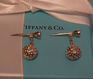 Tiffany & Co Sterling 925 Silver Golf Ball & Tee Cuff Links
