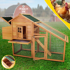 """New listing 75"""" Deluxe Solid wood Chicken Hen Coop Poultry Cage House Huge W/Run Nesting Box"""