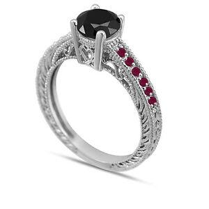 Enhanced Black Diamond and Ruby's Engagement Ring 14K White Gold 0.64 Carat
