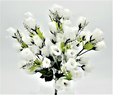 55 Mini Roses Buds Silk Flowers Wedding Bouquets Artificial Decor Crafts - White