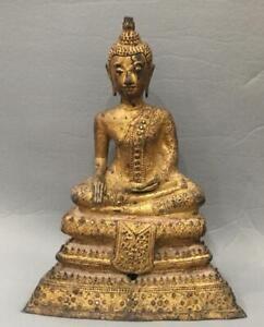 ANTIQUE 18th/19th C THAI GILT BRONZE JEWELED SEATED DEITY BUDDHA