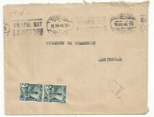 1945 Tunis Tunisia to Amsterdam Netherlands Pair 2Fr Stamps