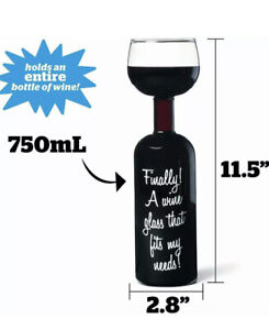 Wine Bottle Glass Hold An Entire Bottle Of Wine Extra Large Party Drinking Gift