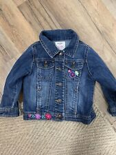 Old Navy Girls Jean Jacket 18-24 Months Button Up Stretch Floral Embroidery
