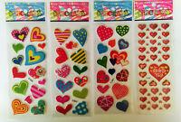 Herzen 3D Sticker 1-20 Bögen Aufkleber Liebe Hochzeit Kinder basteln Schulanfang