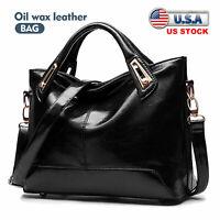 Black Oil Wax Handbag Women PU Leather Tote Purse Messenger Hobo Shoulder Bag