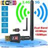2.4/5Ghz Dual Band 600Mbps Wireless USB Adapter WiFi Network w/Antenna 802.11AC