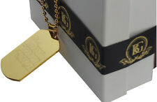 SERENITY PRAYER NECKLACE ID ARMY DOG TAG 24K GOLD Plate Recovery Gifts AA NA
