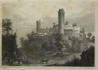 Auersberg Burgruine Stahlstich Gerstner nach Reiss um 1850 Grafik Ansicht Hessen