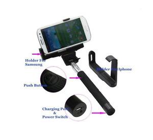 Wireless Bluetooth Extendable Selfie Stick Monopod Phone Holder - Green- Black