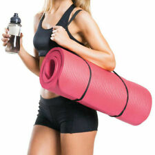 Yoga Mat For Pilates Gym Exercise With Carry Strap 10mm Thick Large Comfort Nbr