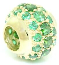 Emerald Green Cluster Ball 9K 9ct 375 Solid Gold Bead Charm FIT EURO BRACELETS