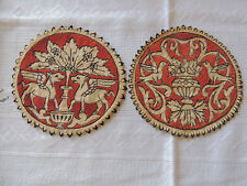"Two Very Old Hand Made Doily PÄ""gasos, Birds. 1900-"