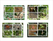 DRAGONFLY INSECTS BUGS 4 SOUVENIR SHEETS MNH UNPERFORATED