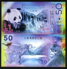 China, Jiuzhaigou National Park, 50 Yuan, Polymer, 2018 - Panda, Monkey