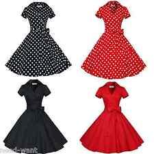 Women's Bow Belt Vintage Style 1950s Rockabilly Audrey Party Swing Skaters Dress