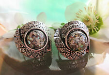 Ring Vintage Style Shell Black U Natural farbigtibet Silver Intertwined Form