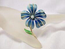 Vintage Gold Tone Blue Enamel Flower Brooch/Pin w/Faux Pearl