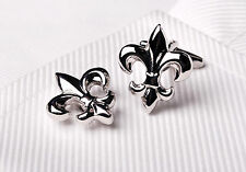 Silver Chrome Fleur-De-Lis Cuff Links Men's Cufflinks Mardi Gras Saints Jewelry