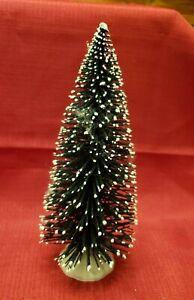 """LEMAX VINTAGE FLOCKED BOTTLE BRUSH CHRISTMAS TREE ~ 9"""" Tall"""