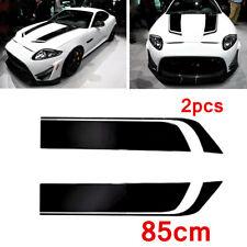 2PC Sports Stripe DIY Racing Car Motors Hood Vinyl Decal Sticker Black Universal