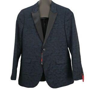 NEW J. Ferrar Slim Fit 40 Reg Mens Sport Coat Jacket Blazer Camouflage Navy Blue