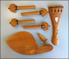 Hand Carved Boxwood 4/4 Violin Parts, Pegs/Chinrest/Tailpiece/Endpin, MOP Inlay