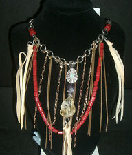 Lucky Brand Gold & Siver Multi Layer Necklace - Chains, stones & leather New