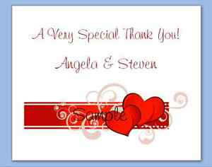 100 Personalized Custom Heart Swirls Bridal Wedding Thank You Cards
