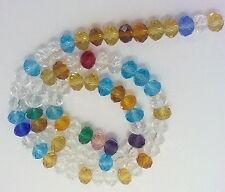 75 PERLE MULTICOLOR 8 mm MEZZI CRISTALLI SFACCETTATI beads BIGIOTTERIA
