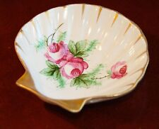"""VINTAGE PORCELAIN CLAM SHELL DISH SOAP  ROSES HAND PAINTED GOLD GILT 4.5"""" x 5"""""""