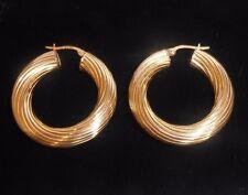9 CT yellow GOLD CHUNKY 30mm x 11mm HOOP earrings ROUND elegant SWIRL design