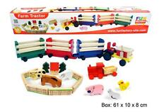 NEW Large Wooden Toy Tractor Truck with Farm Animals, Fence