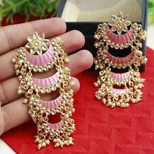 Indian Bollywood Fashion Gold Plated Kundan Earrings Chandbali Wedding Jewelry