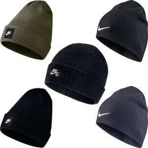 Nike Mens Womens Futura Beanie Beanies Flexible Warm Winter Knitted Hats Cap