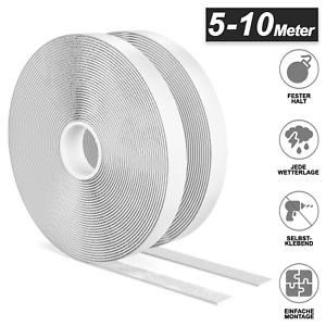 5-10m Klettband Selbstklebend Weiß Wasserfest Extra Stark Beidseitig Doppelt