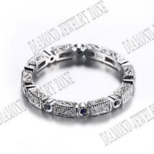 Solid 14K White Gold Natural Diamonds Sapphires Antique Engagement Wedding Band