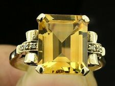 s C1129 Solid 9K Yellow Gold NATURAL Citrine & Diamond Solitaire Ring size 7