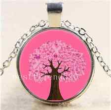 Breast Cancer Ribbon Tree Cabochon Glass Tibet Silver Chain Pendant Necklace
