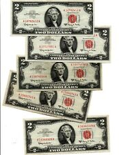 5-1963 $ 2.00  RED SEAL UNITED STATES NOTES,  OLD U.S. CURRENCY,         lot (e)