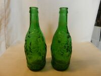 "Pair of Green Embossed Lucky Buddha Beer Bottles, Empty 8.25"" Tall"