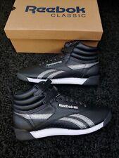 Reebok Women's Freestyle Hi Sneaker. Black/White/Silver Metallic. Size 7 NEW