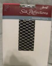 Hanes Fashion Mod Check Pantyhose Control Top Size CD Medium Black (*5)